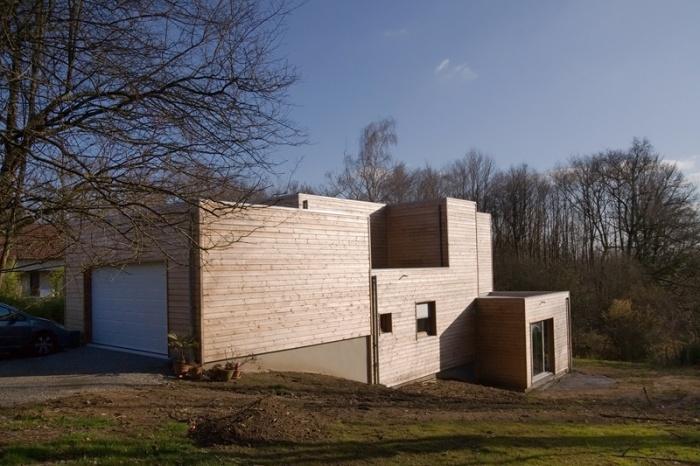 Maison ossature bois contemporaine : Façade nord ouest