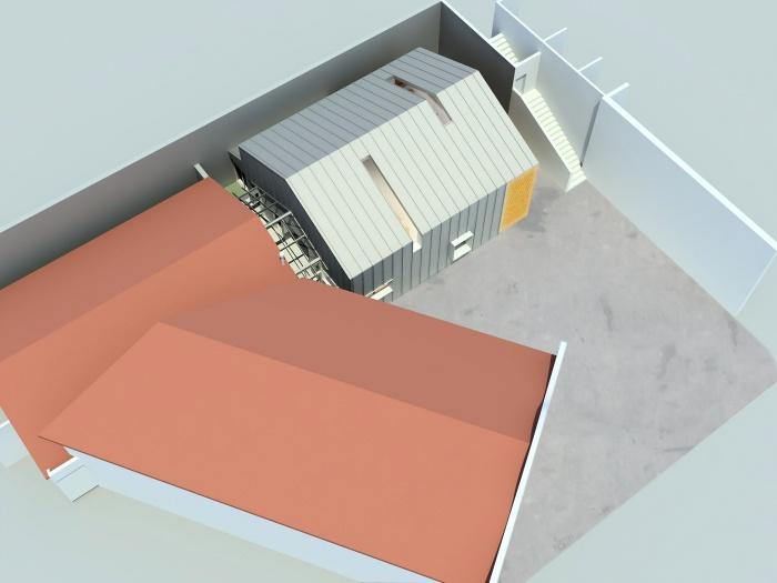 Maison ossature bois : Vue d'ensemble existant/extension crée