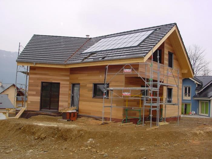 Maison ossature bois en Savoie : Chantier - la terrasse