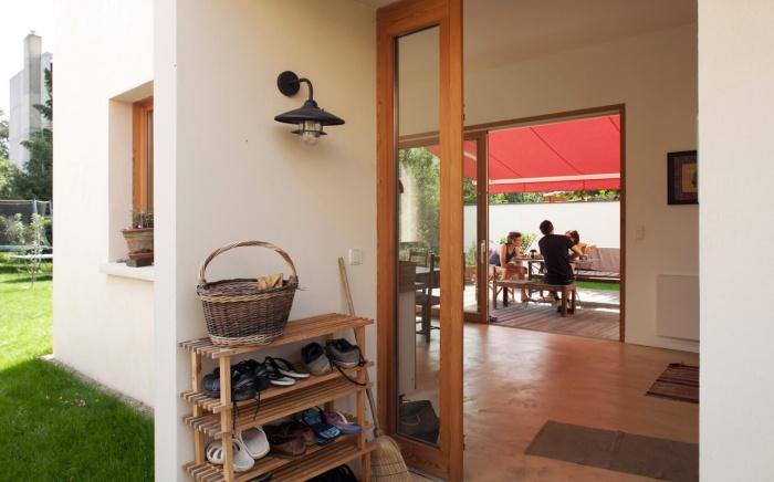 rénovation extension d'une maison ouvrière : entrée traversante