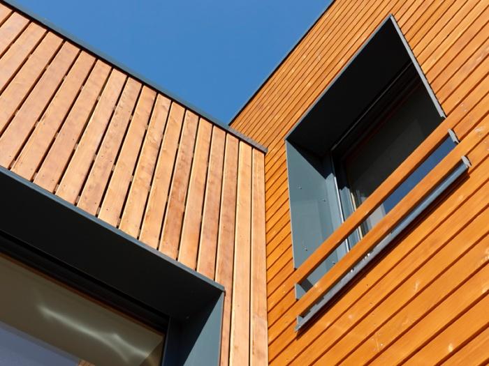 Maison BBC ossature bois à Lyon : detail maison contemporaine ossature bois architecte lyon