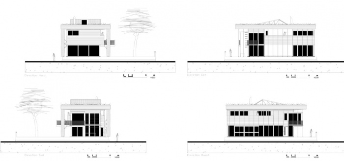 Villa B2 : Elevations et Plan masse