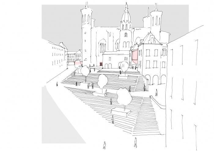 Un dessin pour Fourvière : croquis : vue sur le nouveau parvis