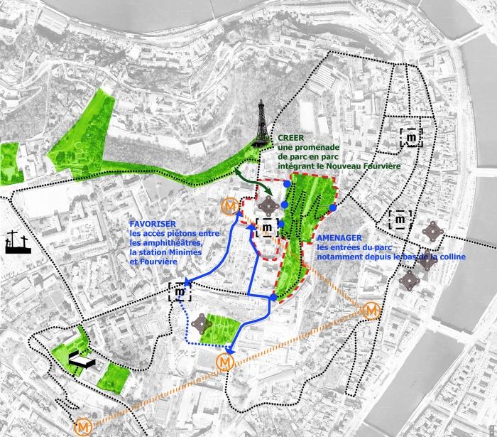 Un dessin pour Fourvière : schéma : le projet urbain