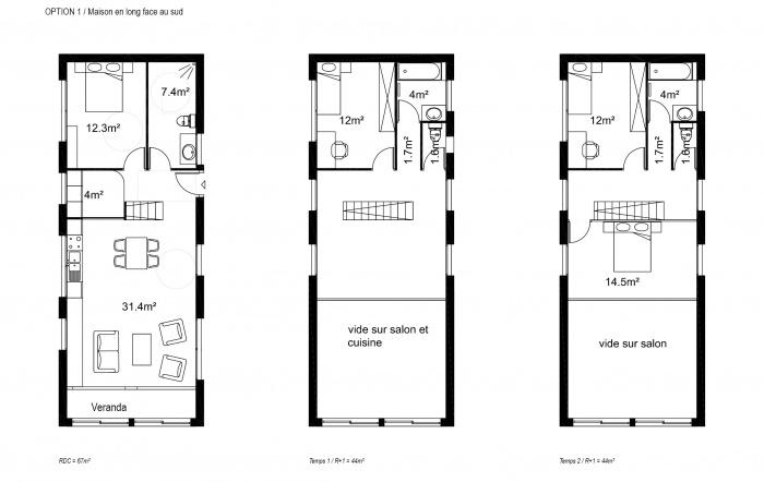 Maison M : Option 1: Plans
