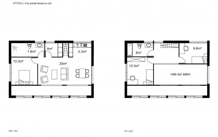 Maison M : Option 2: Plans
