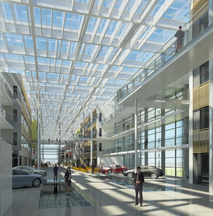 Centre de recherches, bureaux, salles de conférences, restaurant d'entreprise