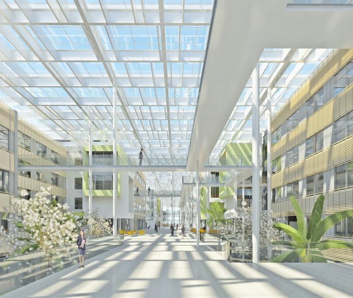 Centre de recherches, bureaux, salles de conférences, restaurant d'entreprise : RDI6_Perspective_B8_B7_Claire-réduite
