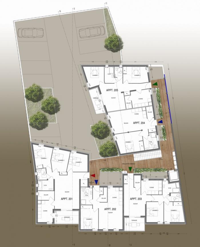 Création de 25 logements : R+2 plan fini 1-200